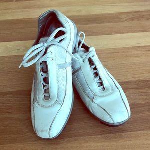 Men's Prada grey leather fashion sneakers Sz 8.5